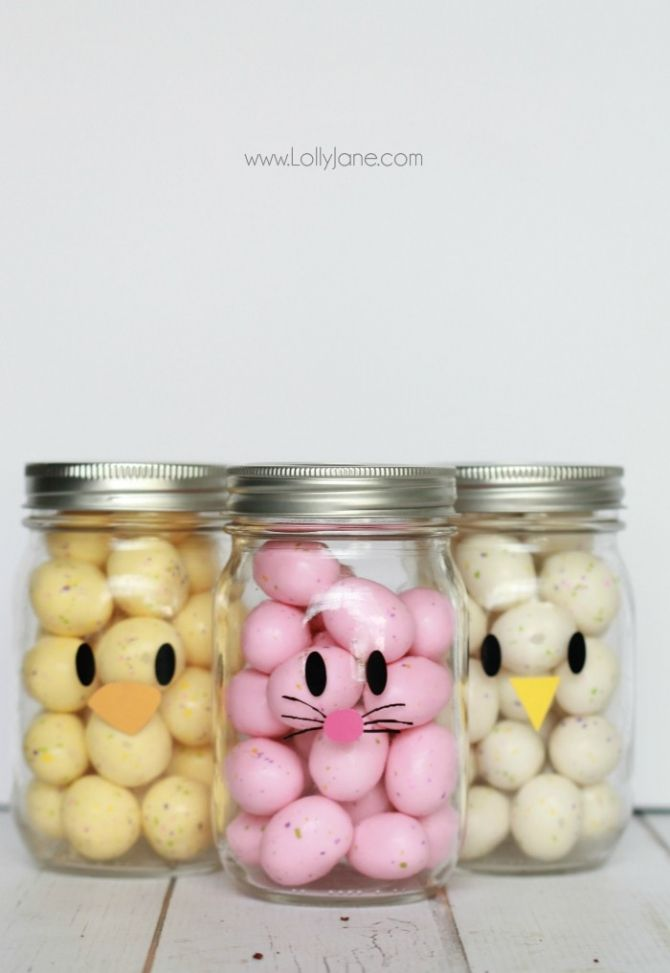 Adorable and easy mason jar idea apply little faces to clear adorable and easy mason jar idea apply little faces to clear mason jars and fill with colorful candies to make quick easter mason jar craft favors negle Gallery