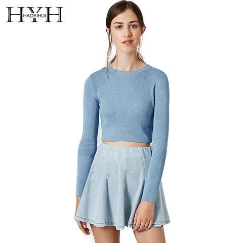 d139787fe5d Haoyihui Long Sleeve Ribbing Brief Pullover Slim Sweater Crew O-Neck Soft  Basic Crop Top 2018 New Fashion Women Sweaters