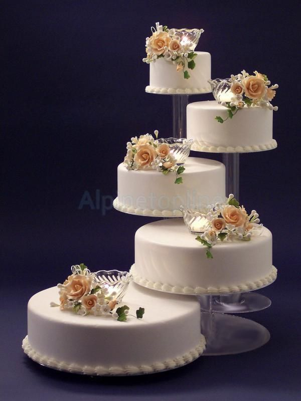 3 4 5Tier Clear Acrylic Cascade Wedding Cake Stand For Party Baby Shower