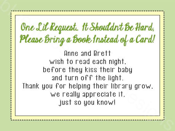 bring a card instead of a book baby shower insert gender neutral