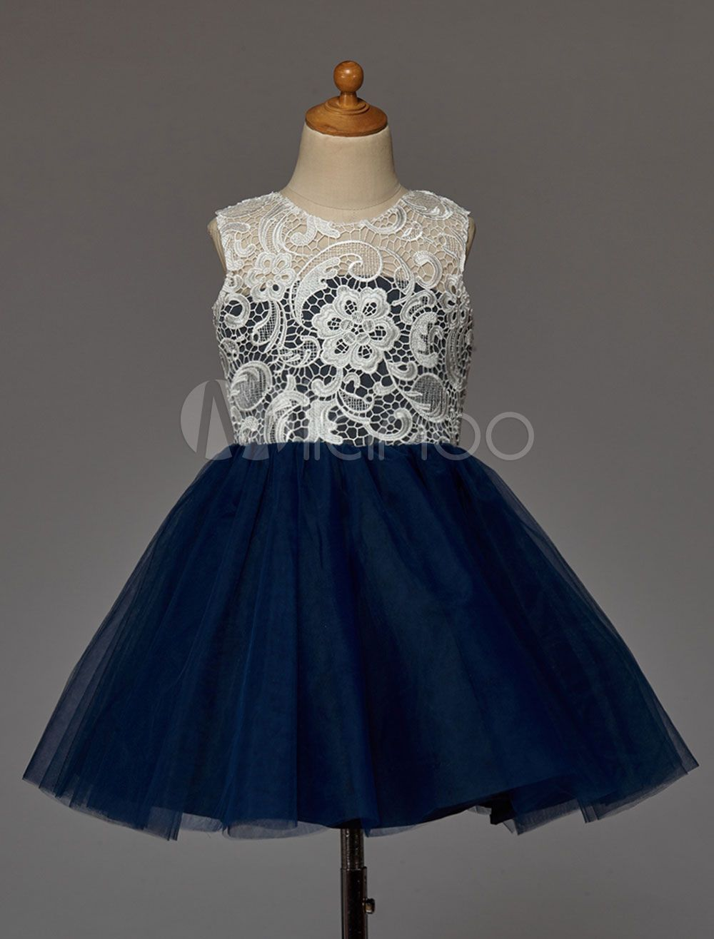 8c2f87bcc4 Dark Navy Flower Girl Dress With Buttons Lace Tulle Toddler Flower Girl  Dresses