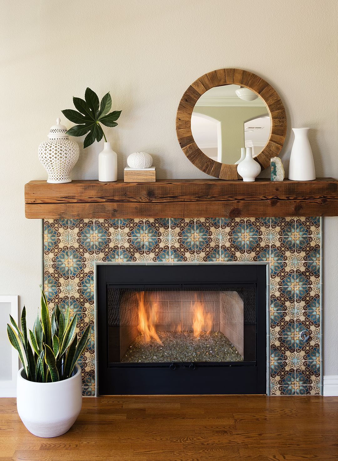 How to install stacked stone tile on drywall fireplace