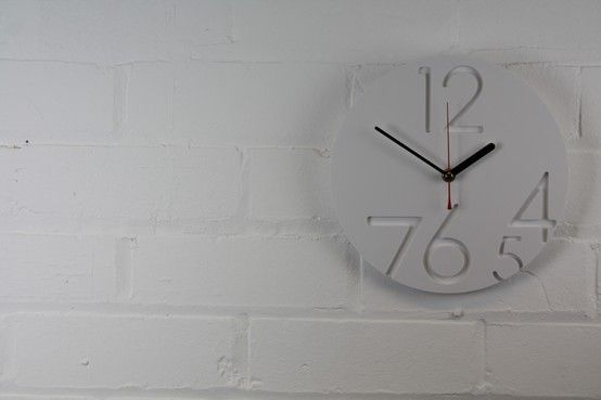 12.0.Clock on a clean white wall background, suited for any interior