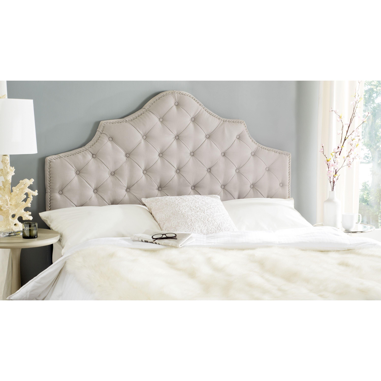 safavieh arebelle taupe brown linen upholstered tufted headboard