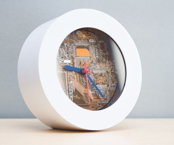 Unique Desk / Wall #clock  #recycled #Computer clock by ReComputing