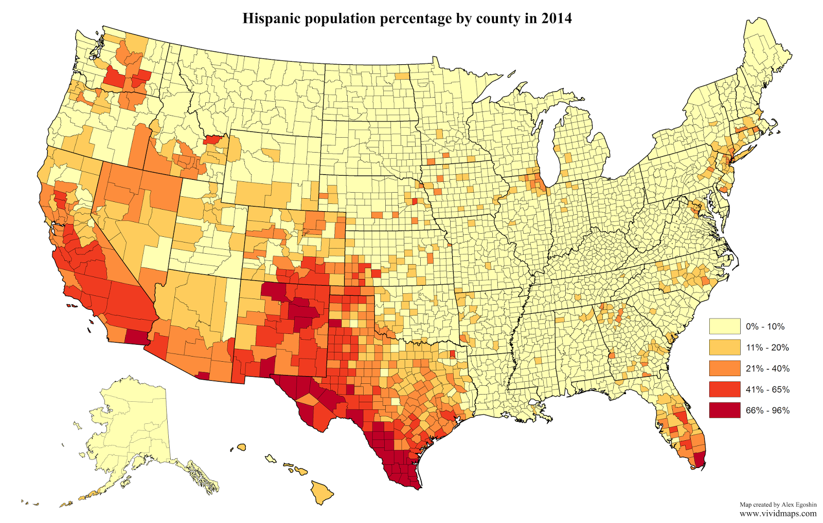Percentage Of State Population That Is Hispanic Or Latino Geo - Us-population-map-by-county