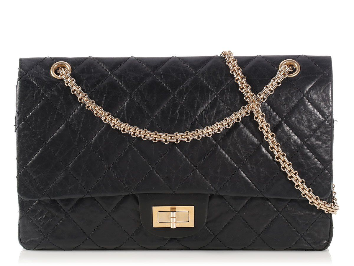 d33e777eeec5 Chanel Black Distressed Quilted Calfskin Reissue 227 - Ann's Fabulous Finds