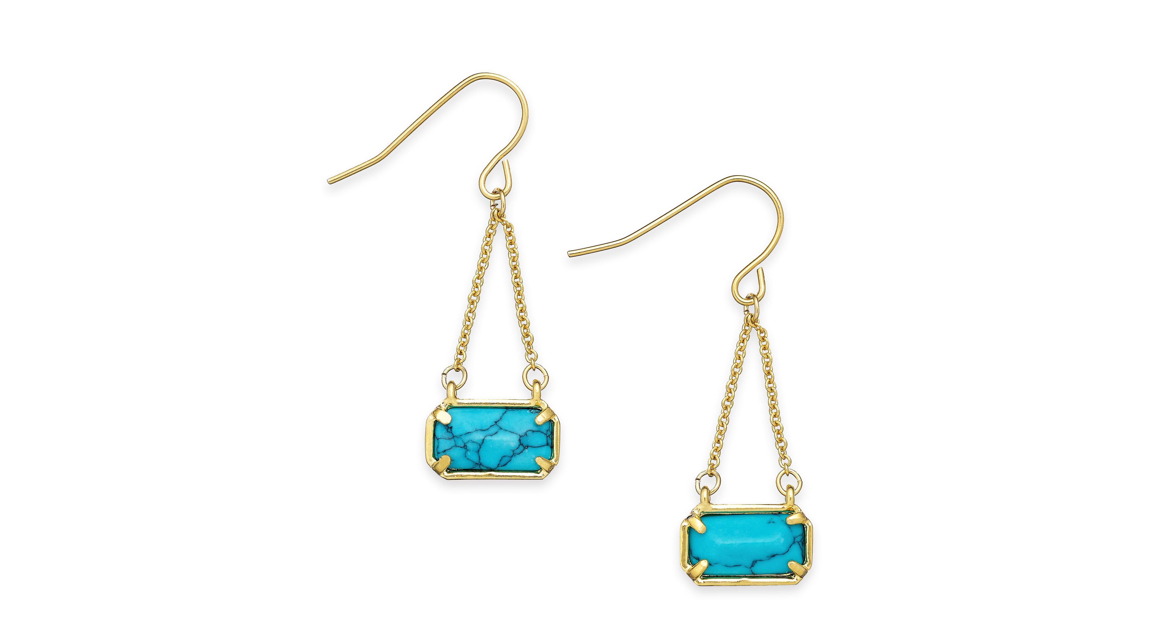 Lauren Ralph Lauren Gold-Tone Stone Chain Drop Earrings