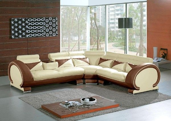Vig Furniture - 7392 - Modern Beige\Brown Leather Sectional Sofa - das modulare ledersofa heart formenti