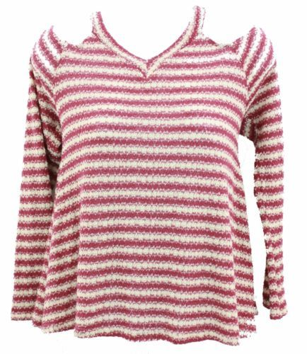 b4cf2025747 Jesse-amp-J-Women-039-s-Junior-039-s-Top-Burgundy-amp -Cream-Stripped-Of-Shoulder-Size-L