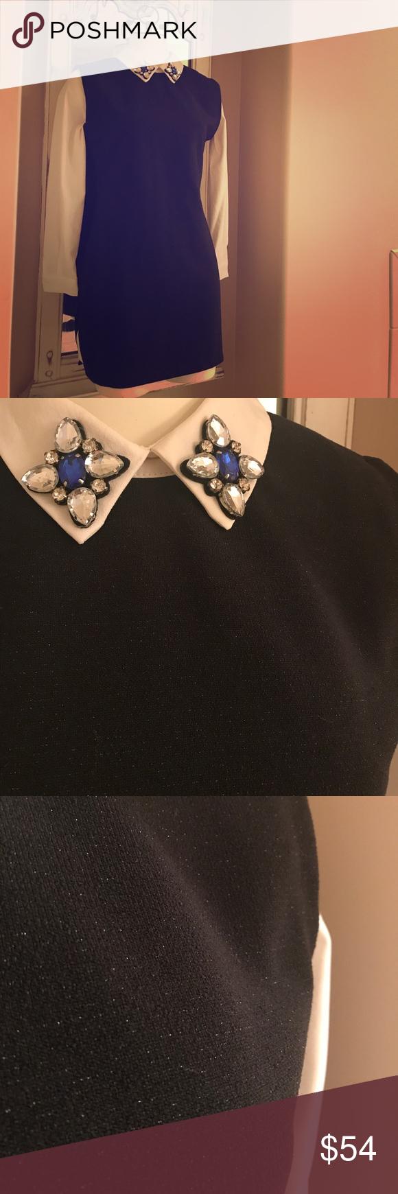 Vintagejewel collar sparkle work dress szm ivory dresses