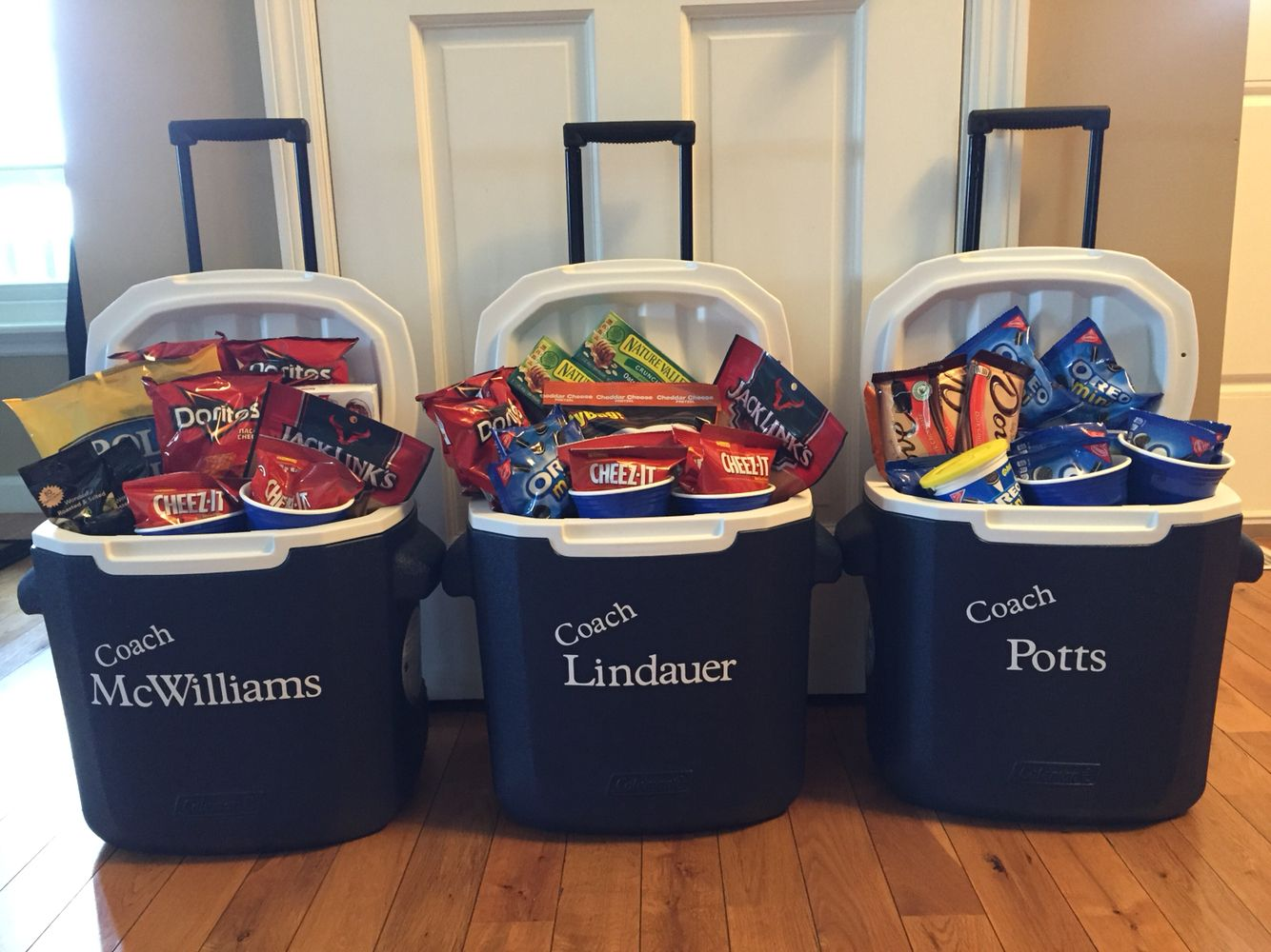 Great gift for our softball coaches. We made sure to get all their favorite snacks!