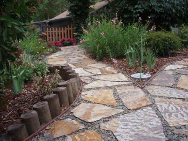 Backyard Walkway Ideas pave stone patio walkway with river pebbles through backyard Walkway Stepping Stones Gravel And Stepping Stone Walkways