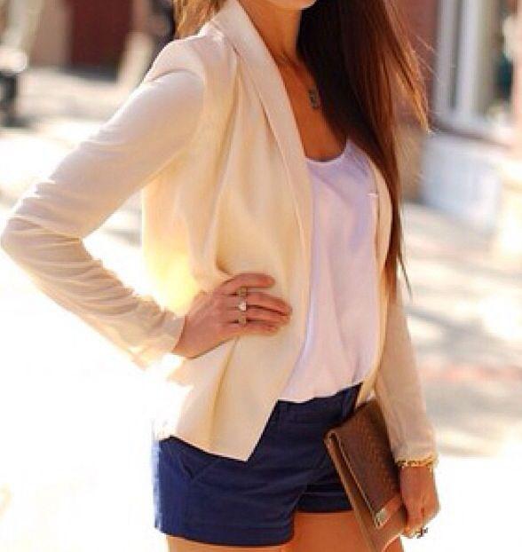 Cream blazer • causal white tank • navy blue shorts