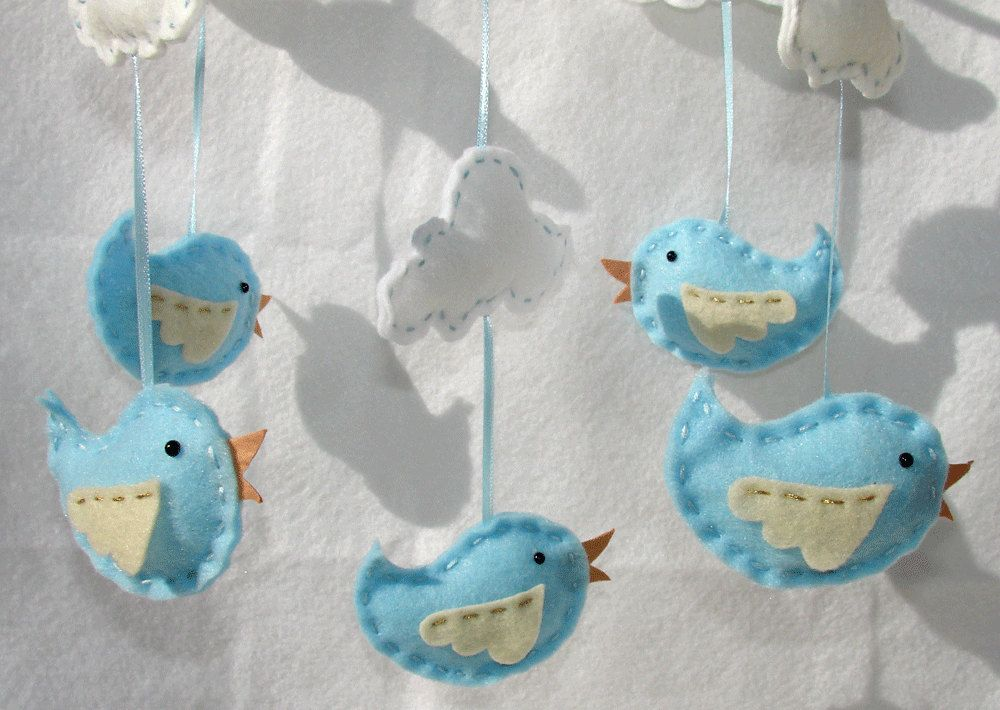 Baby bird mobile blue bird and clouds felt crib mobile for Diy baby mobile felt