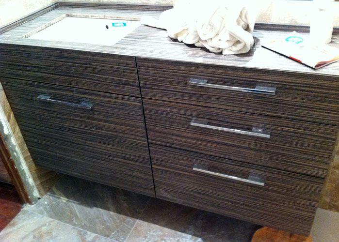Mueble de baño en madera de zebrano. | Trabajos realizados ...