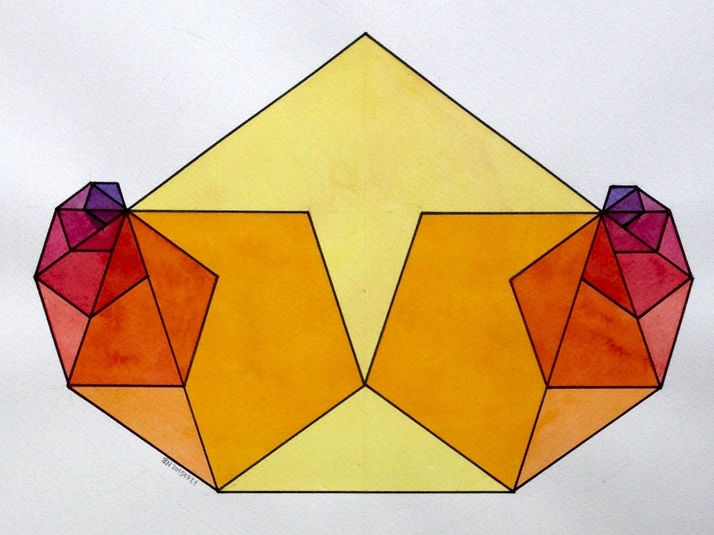 #regolo54 #Fractal #Fibonacci #geometry #symmetry #pattern #math #Escher #Art #warercolor #handmade