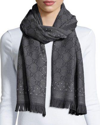 cc9899a86650a Studded GG Jacquard Scarf by Gucci at Neiman Marcus. My big gray fashion  splurge this season!