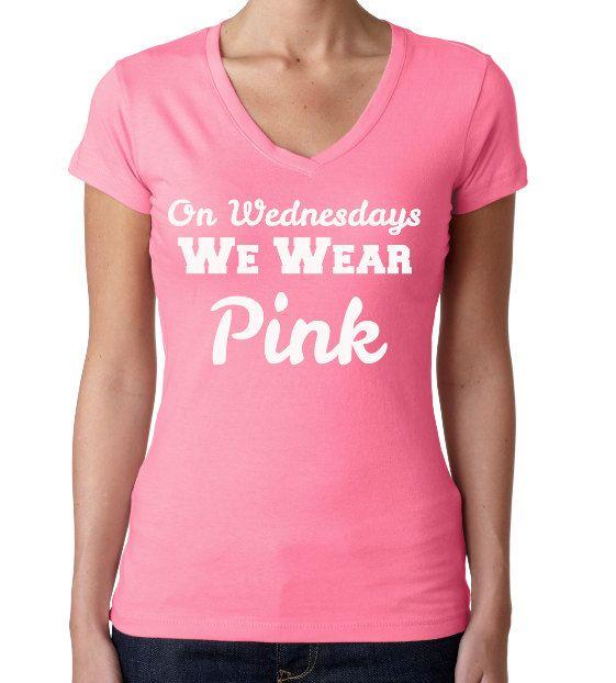 de68338c On Wednesdays We Wear Pink. V-Neck Tee. Mean Girls shirt. We Wear Pink Shirt.  Gym T-Shirt. Ladie's V-Neck. Women's V-Neck T-Shirt. on Etsy, $17.50
