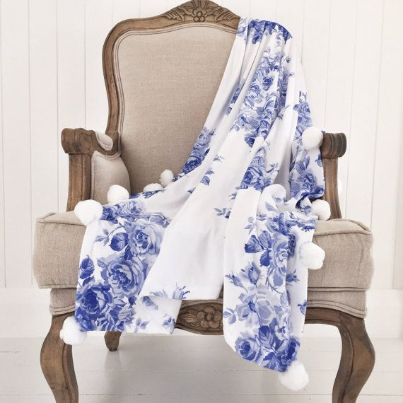 Throw Blanket Periwinkle Blue Rose Small Size Velvet Minky Best Periwinkle Throw Blanket