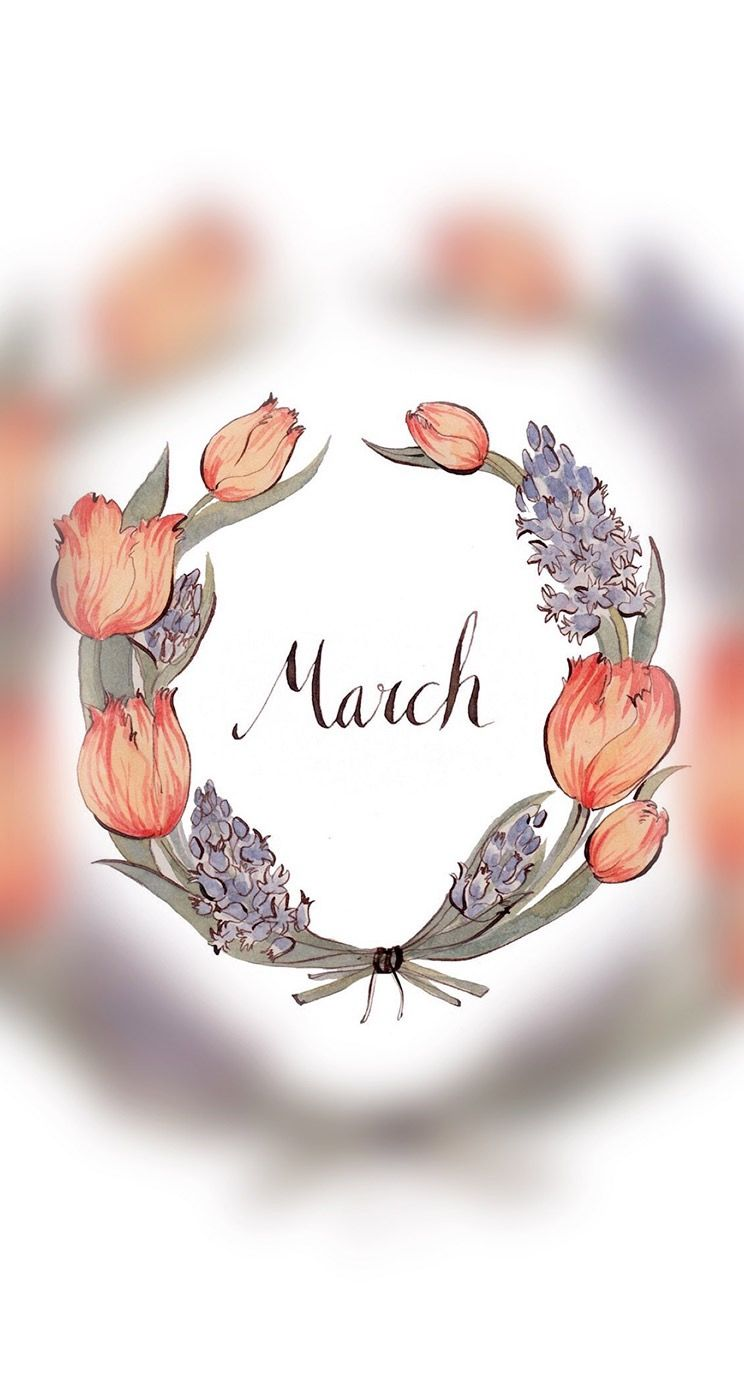 March Month Flower Floral Wrath Background Wallpaper Hd Iphone Sony Samsung Nokia Motor Motorola Wallpapers Wall Stickers Baby Boy Wall Art Quotes