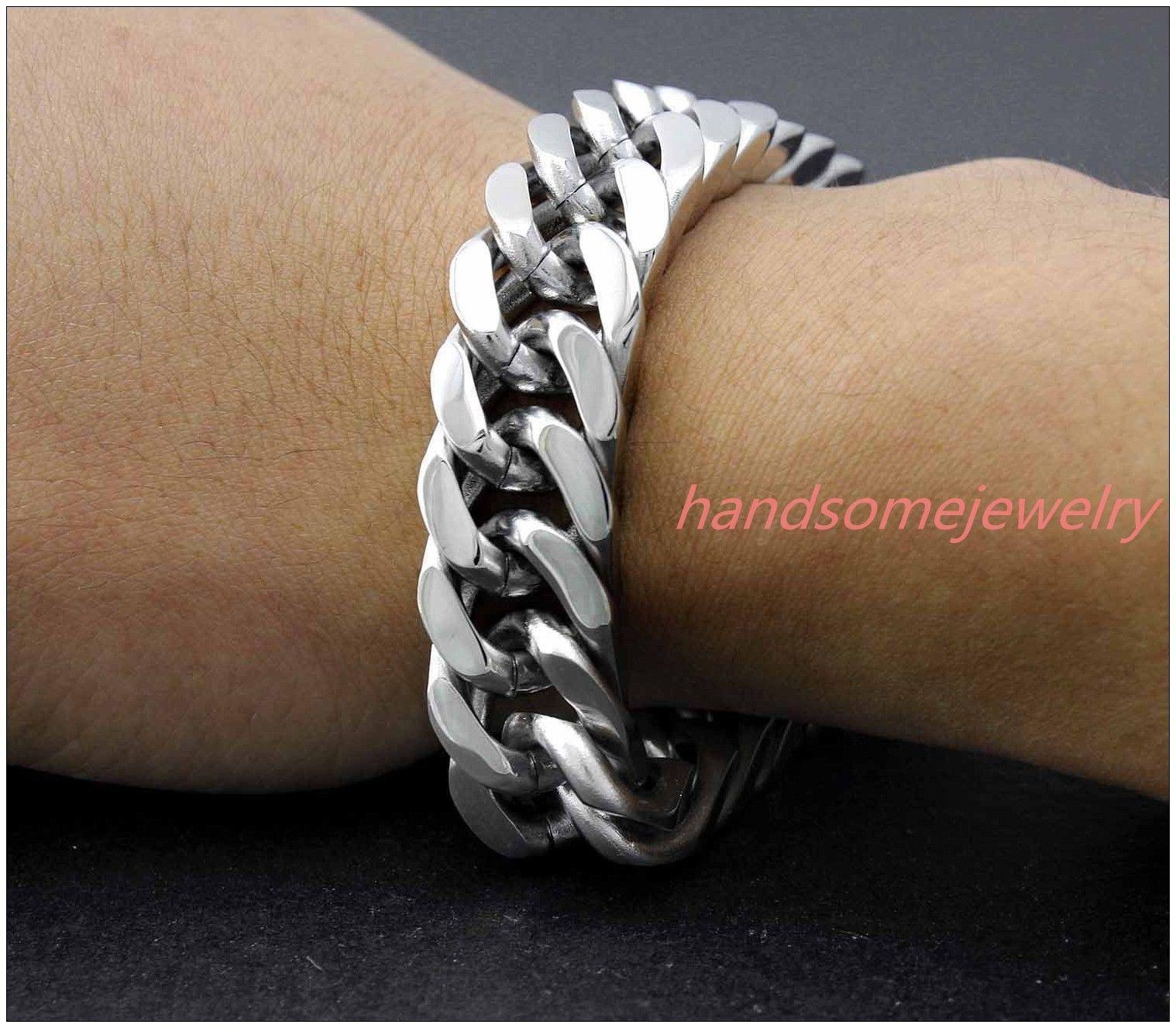 Fashion l stainless steel silver curb cuban menus bracelet