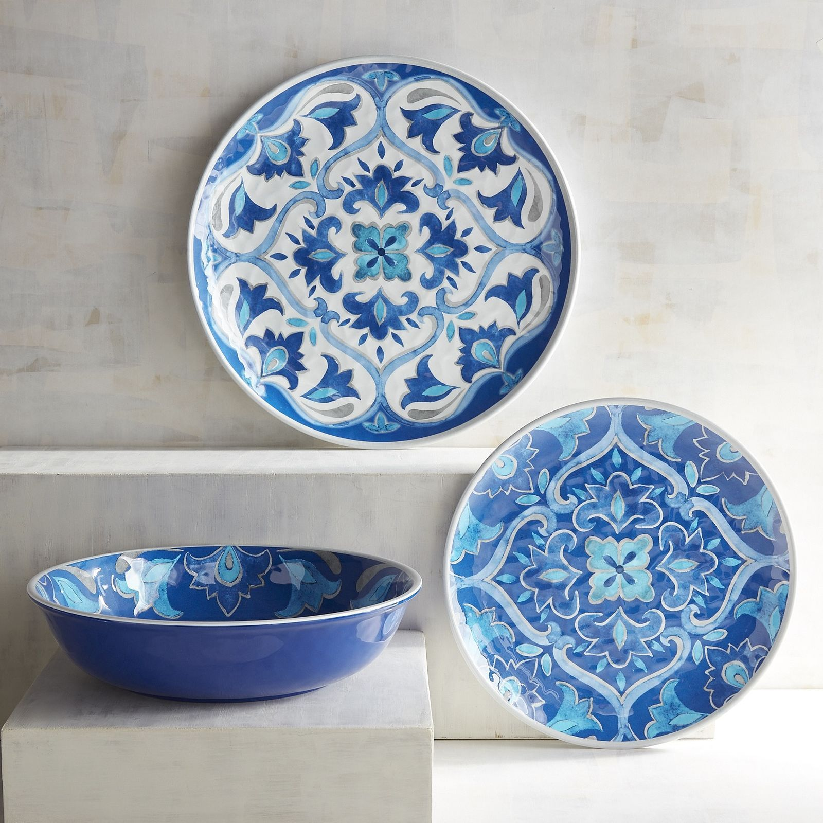 Cool blue hues and a beautiful Mediterranean tile design make our Azure Tile Dinnerware perfect for & Cool blue hues and a beautiful Mediterranean tile design make our ...