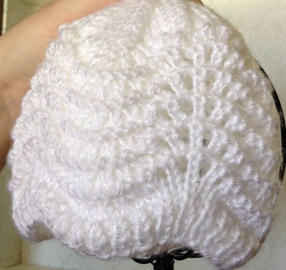 Fan & Feather White Baby Beanie Christening by RockinBooties