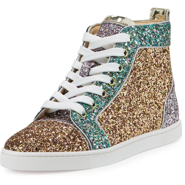 820e07643ca2 Christian Louboutin Bip Bip Glitter High-Top Red Sole Sneaker ( 970) ❤  liked on Polyvore featuring shoes