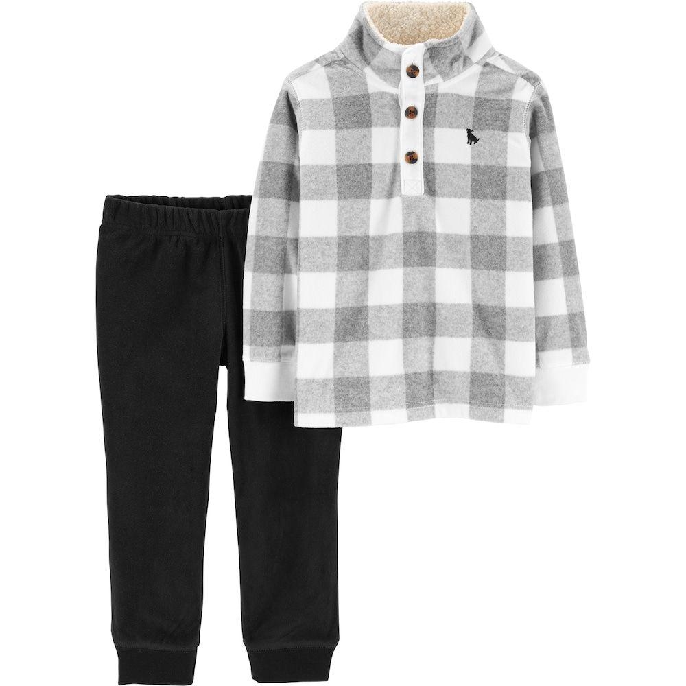 1ea19052468 Baby Boy Carter s Buffalo Checked Pullover Top   Fleece Pants Set ...