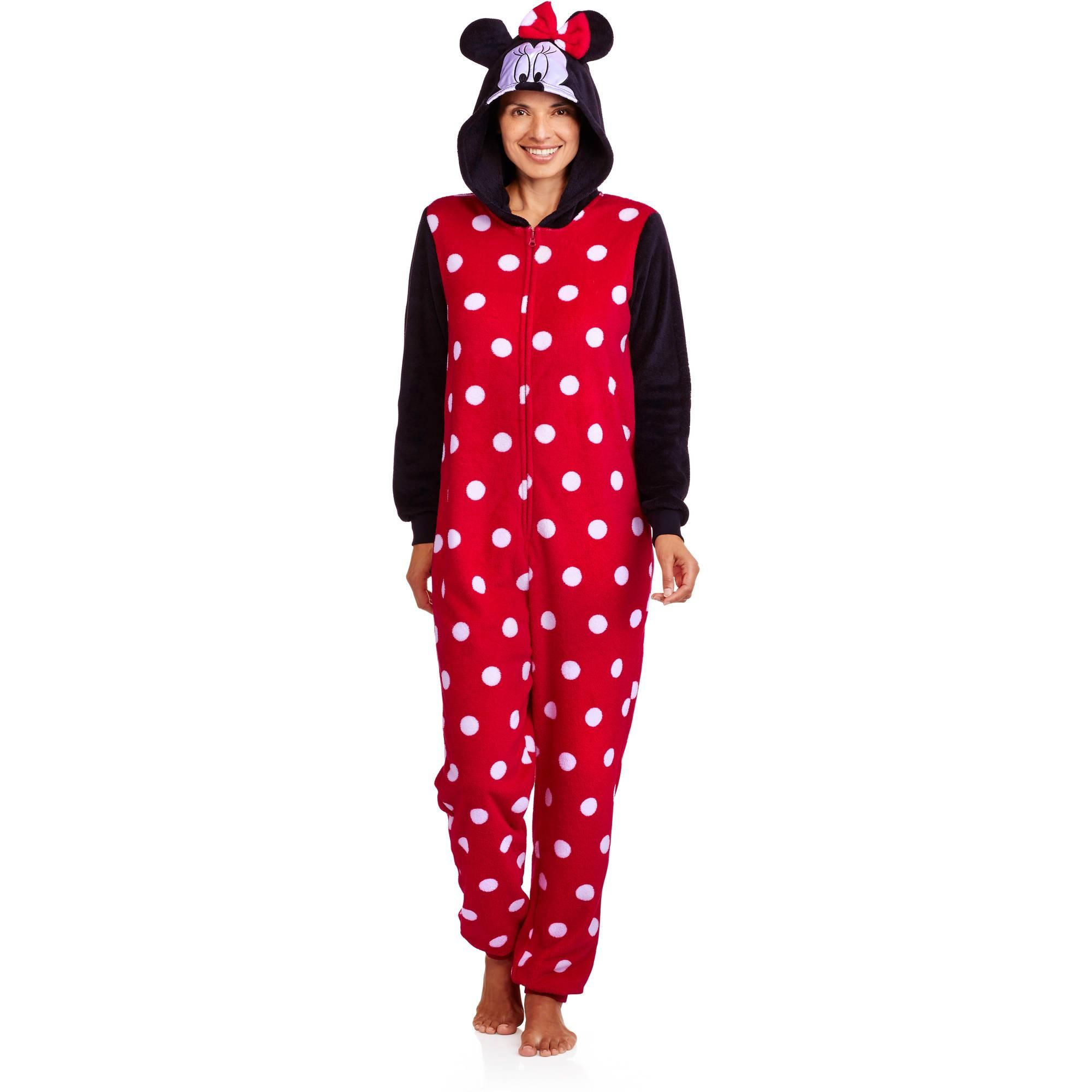 minnie mouse womens one piece pj walmartcom - Walmart Christmas Pajamas