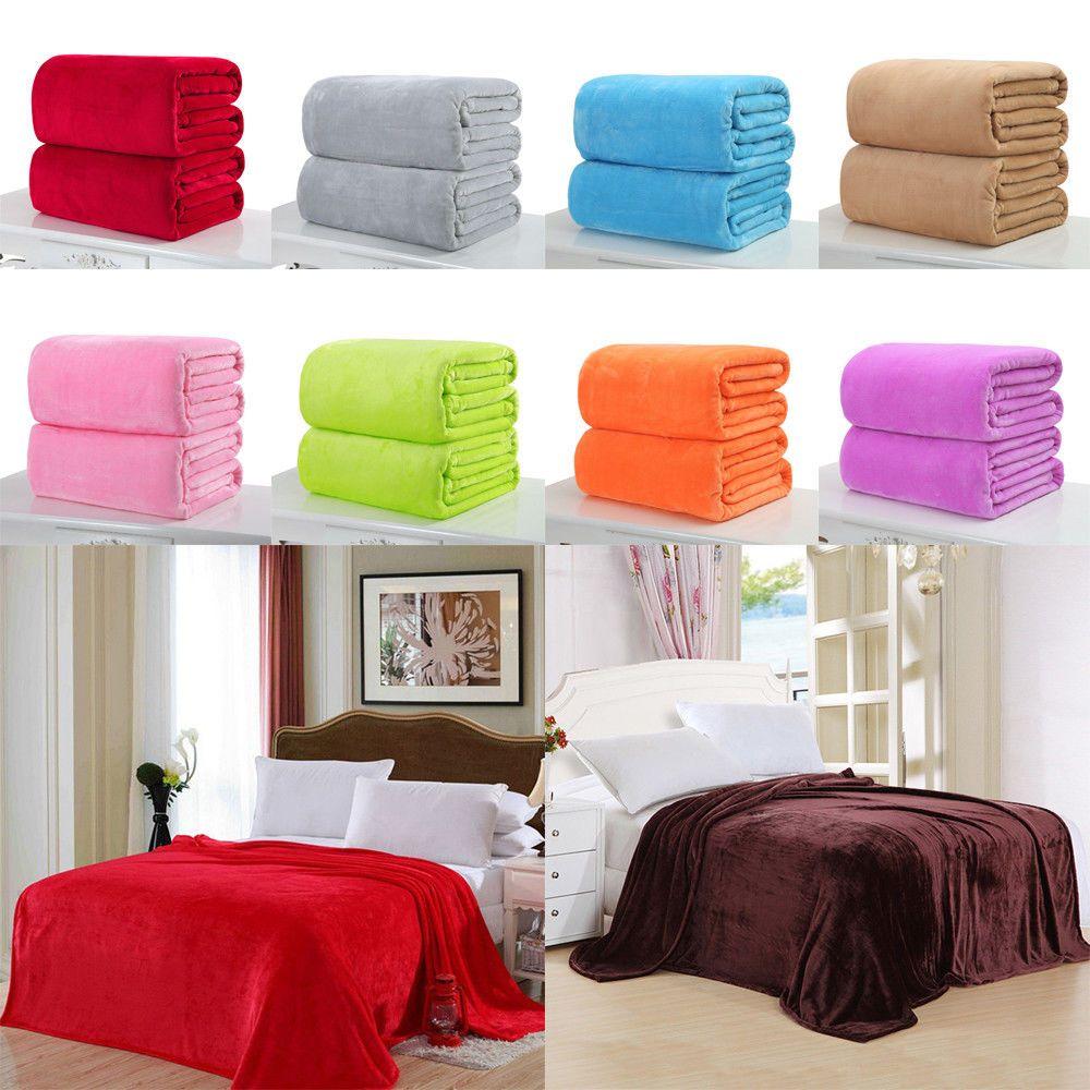50X70cm Super Soft Sofa Plush Fleece Blanket Throw Rug Flannel Bedding Home