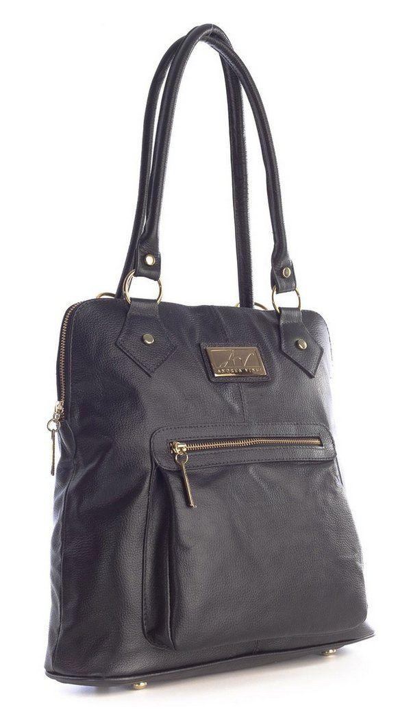 91990f96a Bolsa mochila em couro legítimo preta   Mochilas Femininas   Bolsas ...