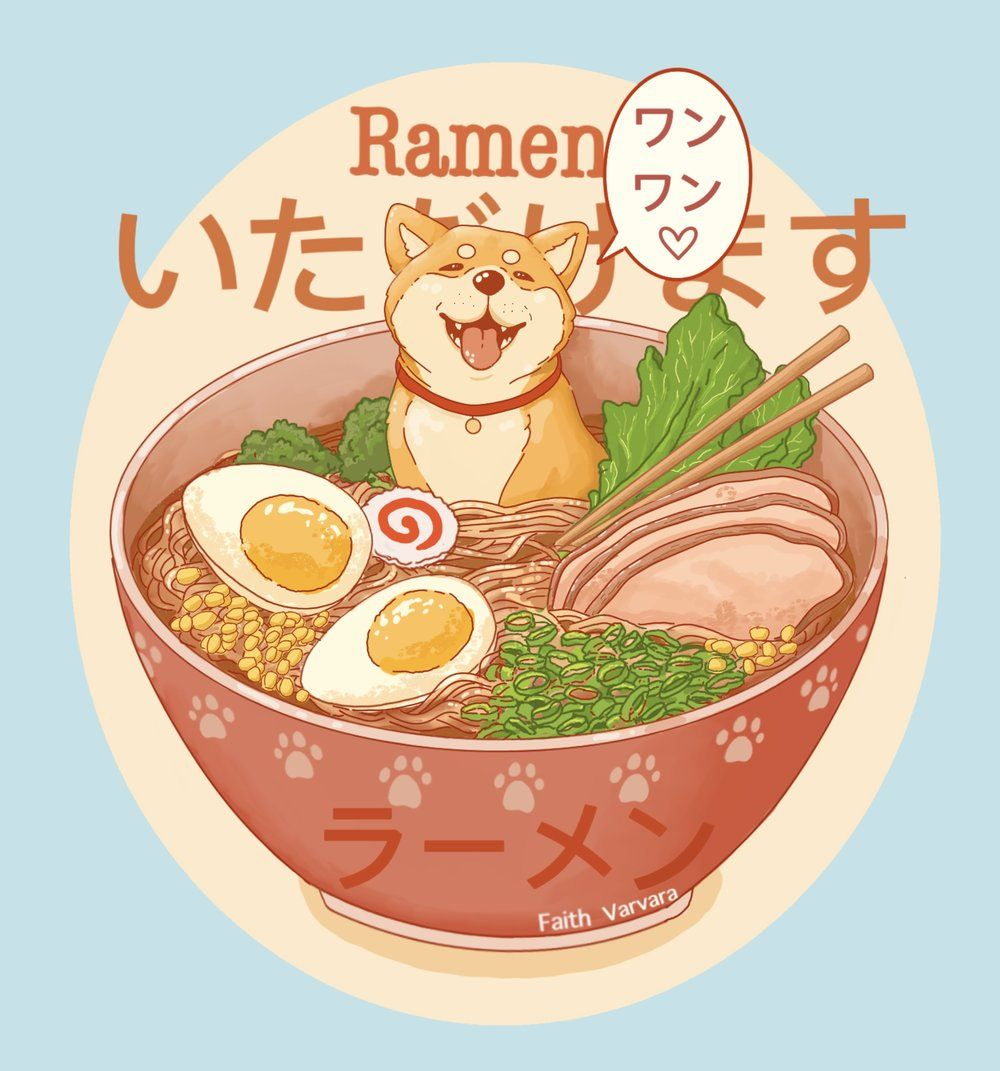 Ramen Dog Tote Bag in 2020 Cute drawings, Japanese