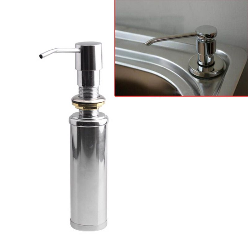 2016 New Brushed Replacement Stainless Steel Kitchen Sink Bottle Liquid Soap  Dispenser Built In Hand Soap