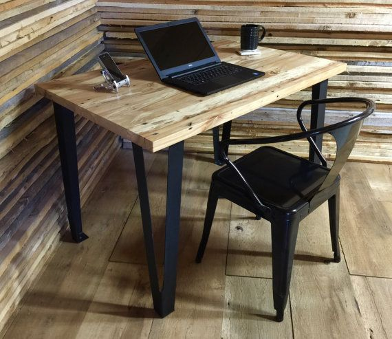 """QUICK SHIP-Contemporary/urban loft style desk, 28"""" x 43"""" reclaimed wood with steel legs."""