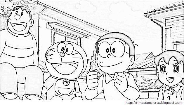 Doraemon Y Sus Amigos Para Colorear Jpg 630 361 Buku Mewarnai Warna Buku