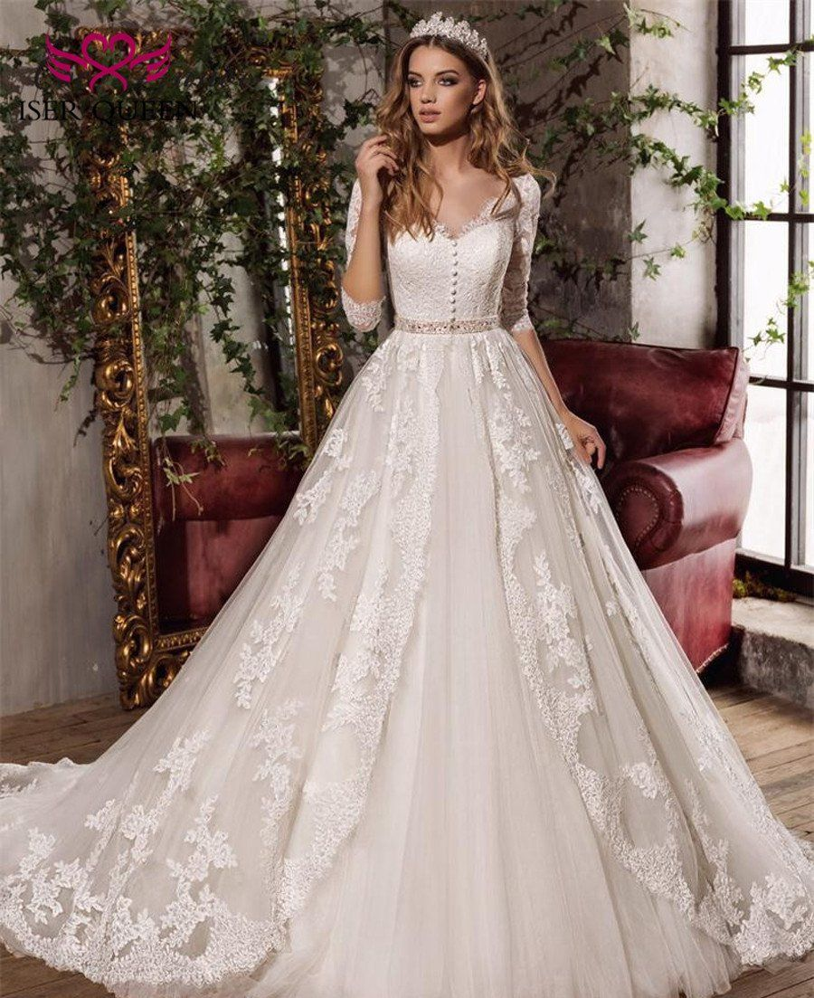 Elegant Embroidery Embellishment Ball Gown Traditional: Half Sleeve Embroidery Princess Wedding Dresses Ball Gown