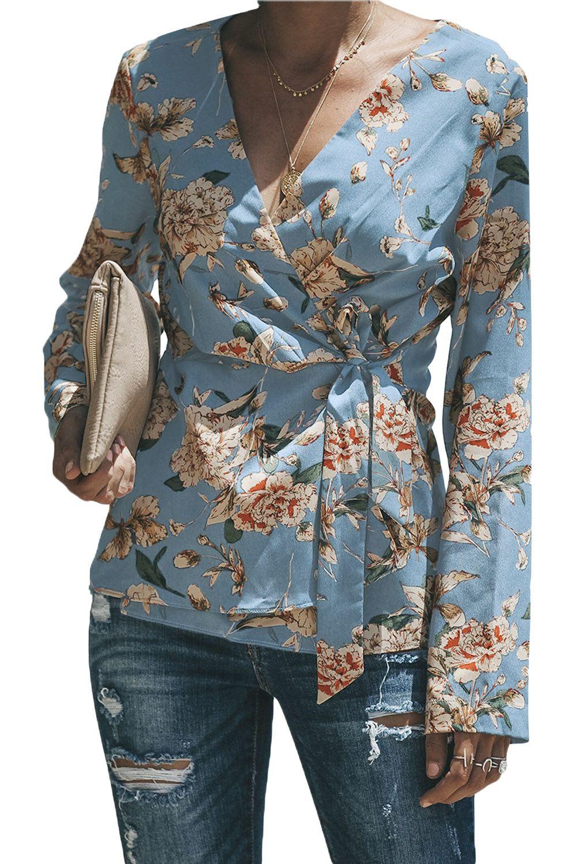 Principiante Appartamento Assorbire  Withchic Blue Sage Daisy Floral Wrap Tie Waist Long Sleeve Blouse | Long  sleeve blouse, Fashion, Clothes