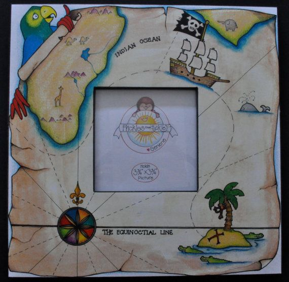 Pirate Treasure Map Picture Frame By Pricklesthattickle On Etsy