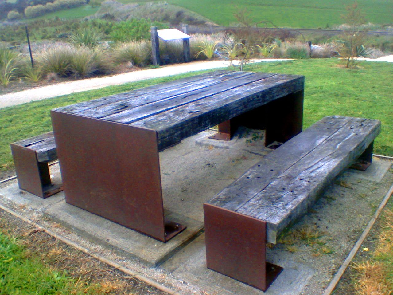 corten steel railway sleeper table benches reclaimed. Black Bedroom Furniture Sets. Home Design Ideas