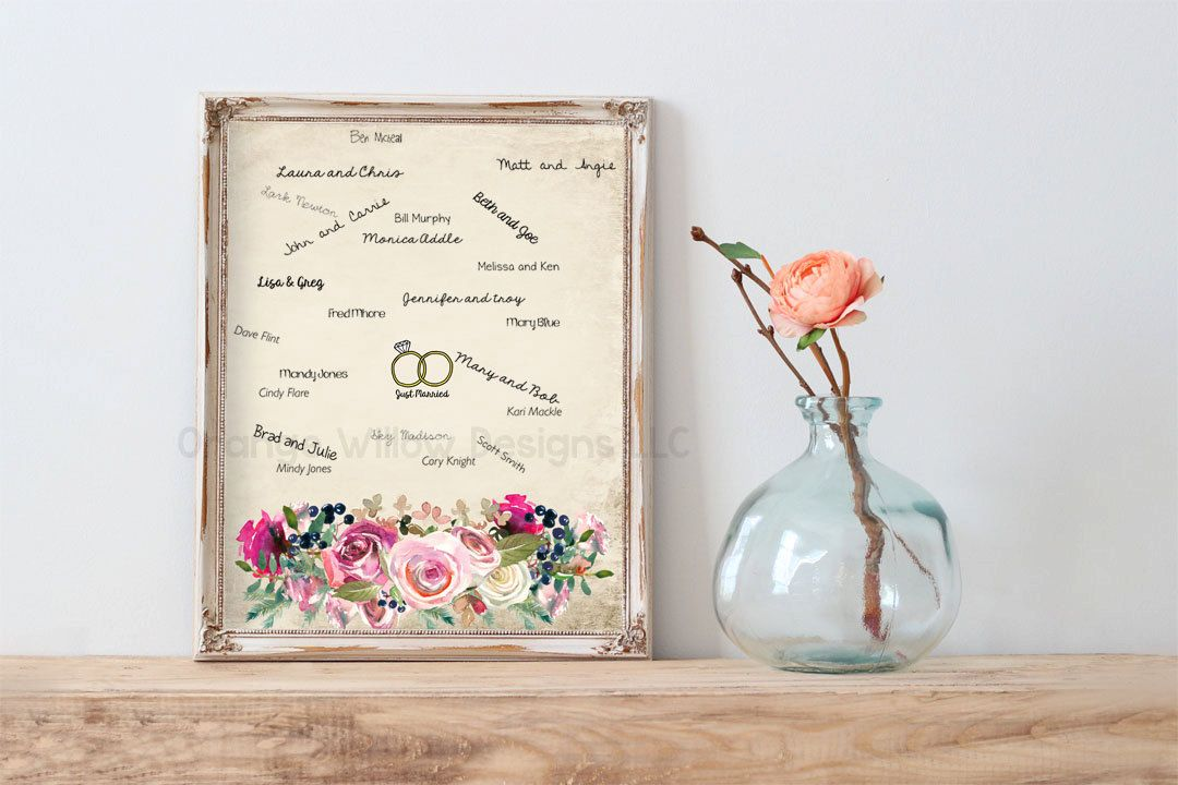 Boho Wedding Guest Book Alternative Art Woodland Floral Guest book  Print (Customization Available) (5AOWDe107) Bride Groom Just Married Art by OrangeWillowDesigns on Etsy