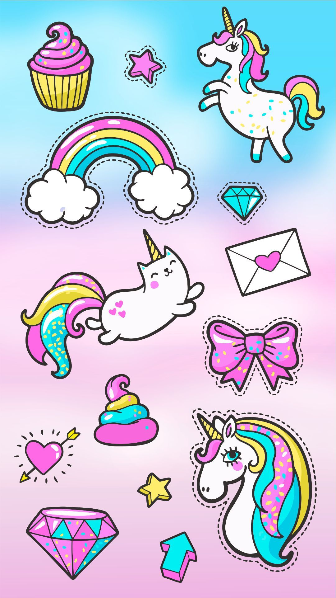 Stickers Fantasía Wallpaper Pinterest Unicorn Unicorn