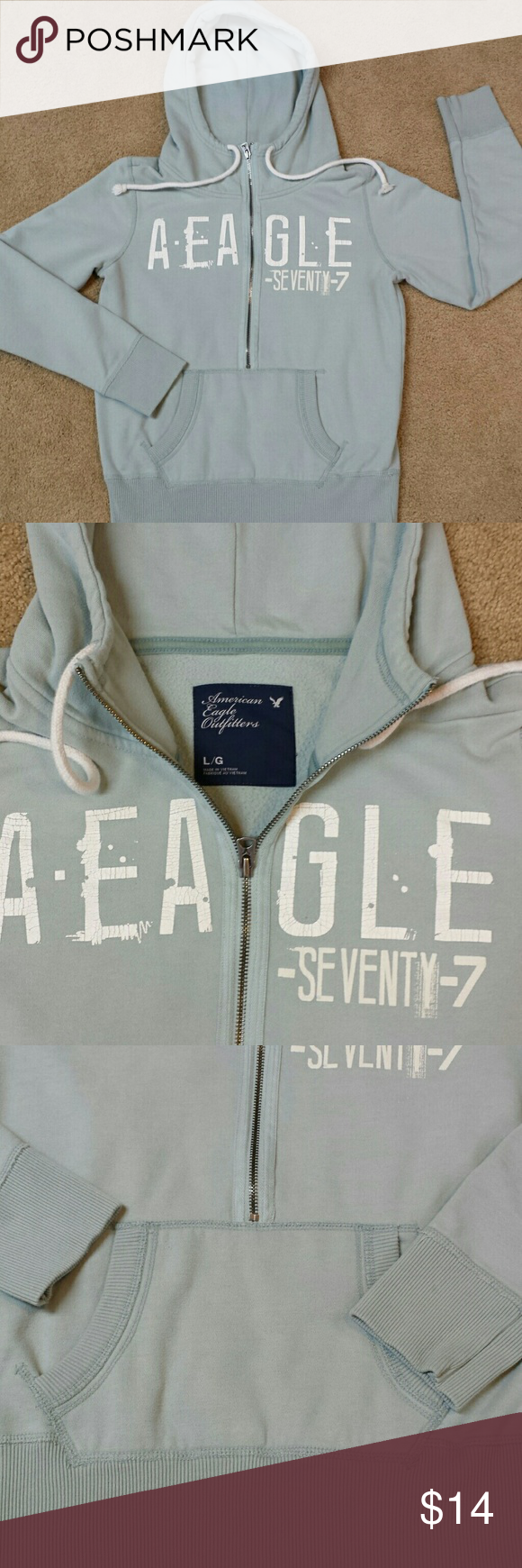 American Eagle Outfitters hoodie, LG. American Eagle Outfitters hoodie half zip with front pocket. 60 % cotton and 40 % polyester, good condition with 2 tiniest stains on sleeves barely if ever noticed when worn, pic 3, otherwise good condition!  Size large. American Eagle Outfitters Tops Sweatshirts & Hoodies