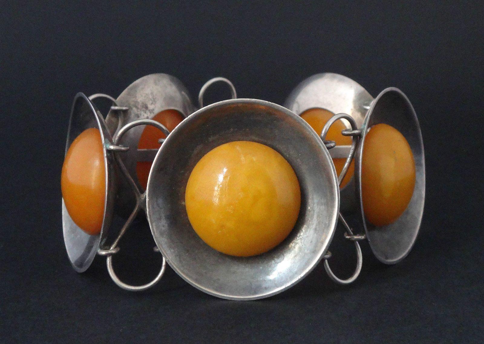9d927d45b1b Très beau bracelet ancien vintage argent et ambre baltique style Georg  Jensen in Bijoux