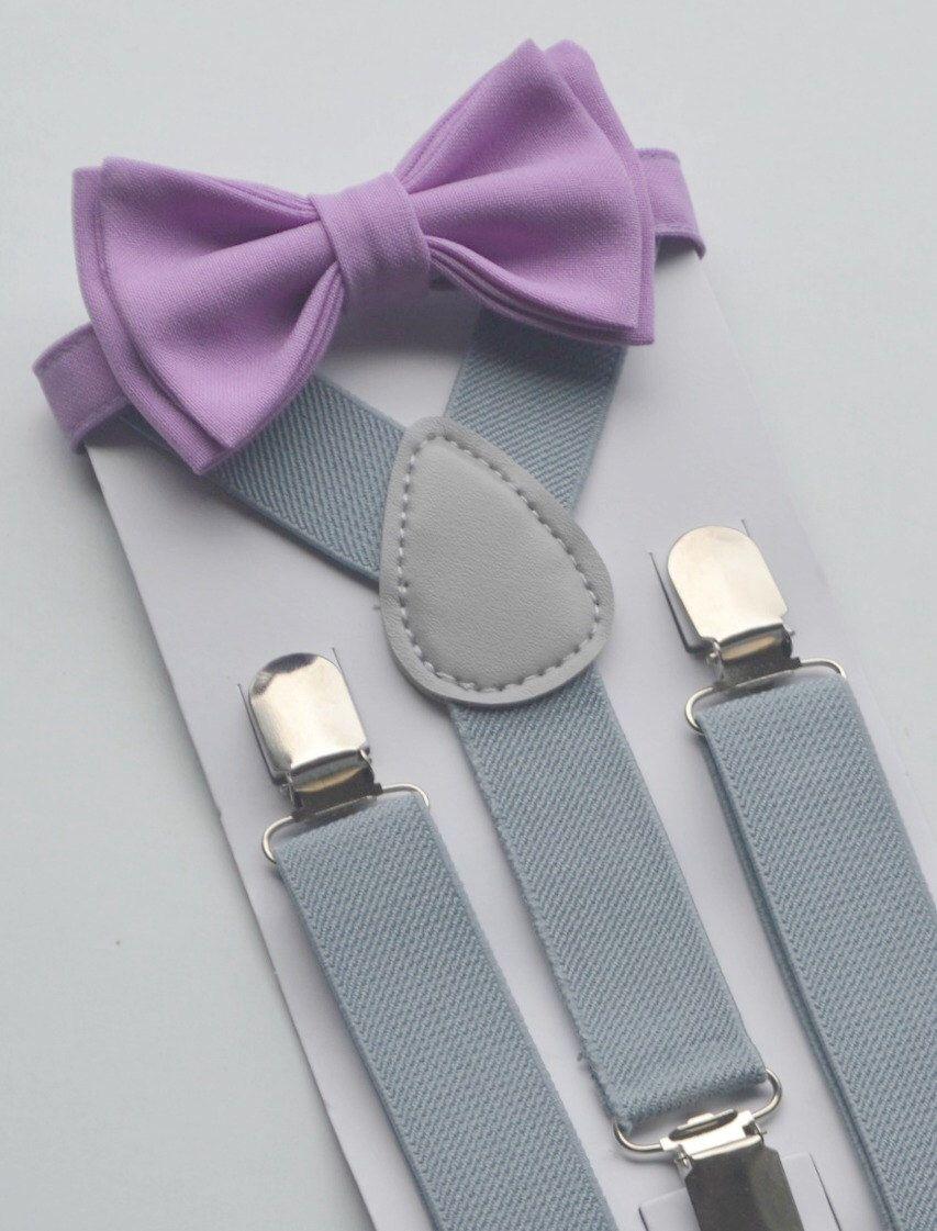 230e38e0c7e1 Gray Suspenders & Lilac Bow Tie with Lilac Pocket Square for Groom ...