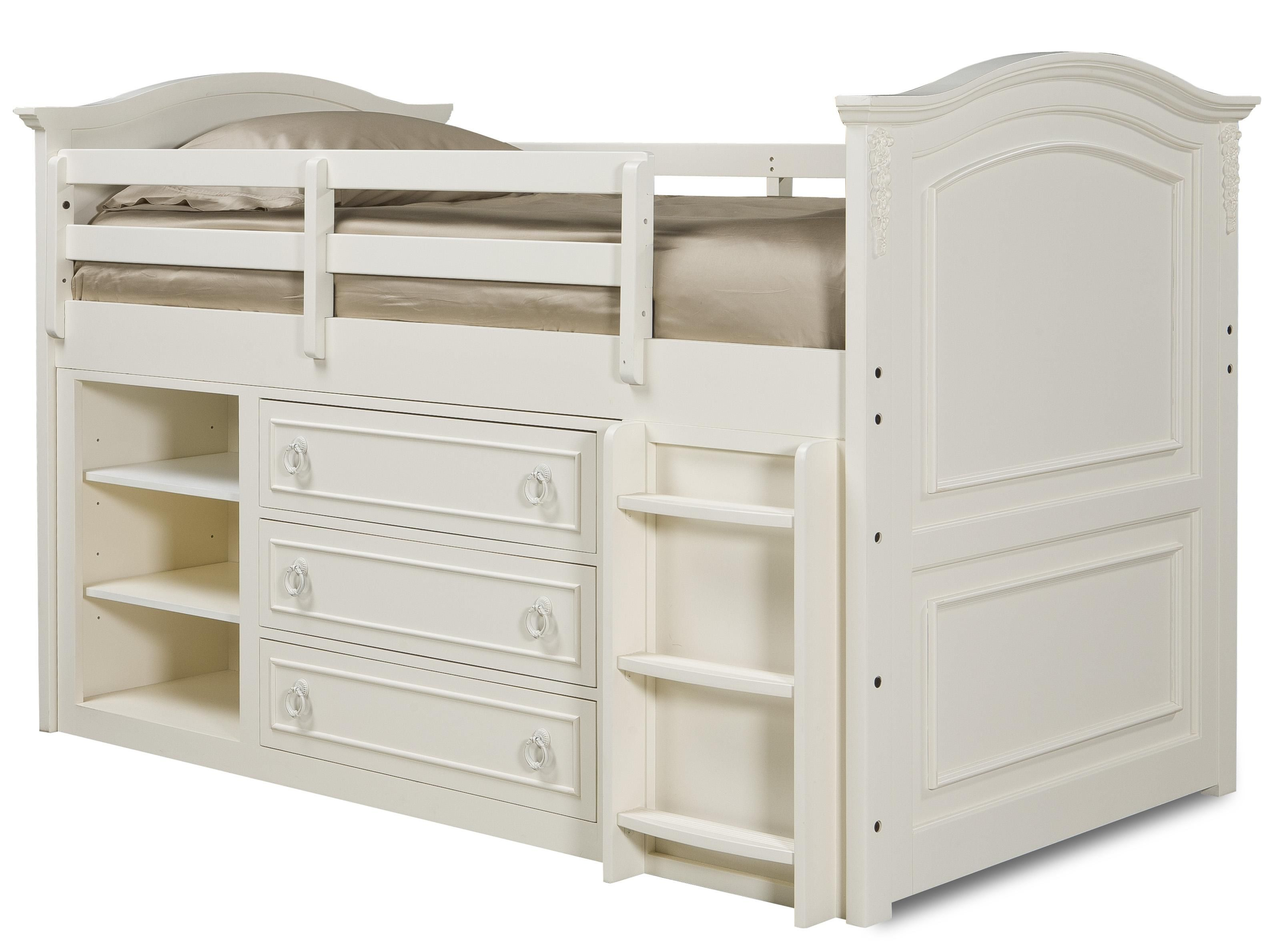 Enchantment Twin Size Mid Loft Bed With Dresser Storage And