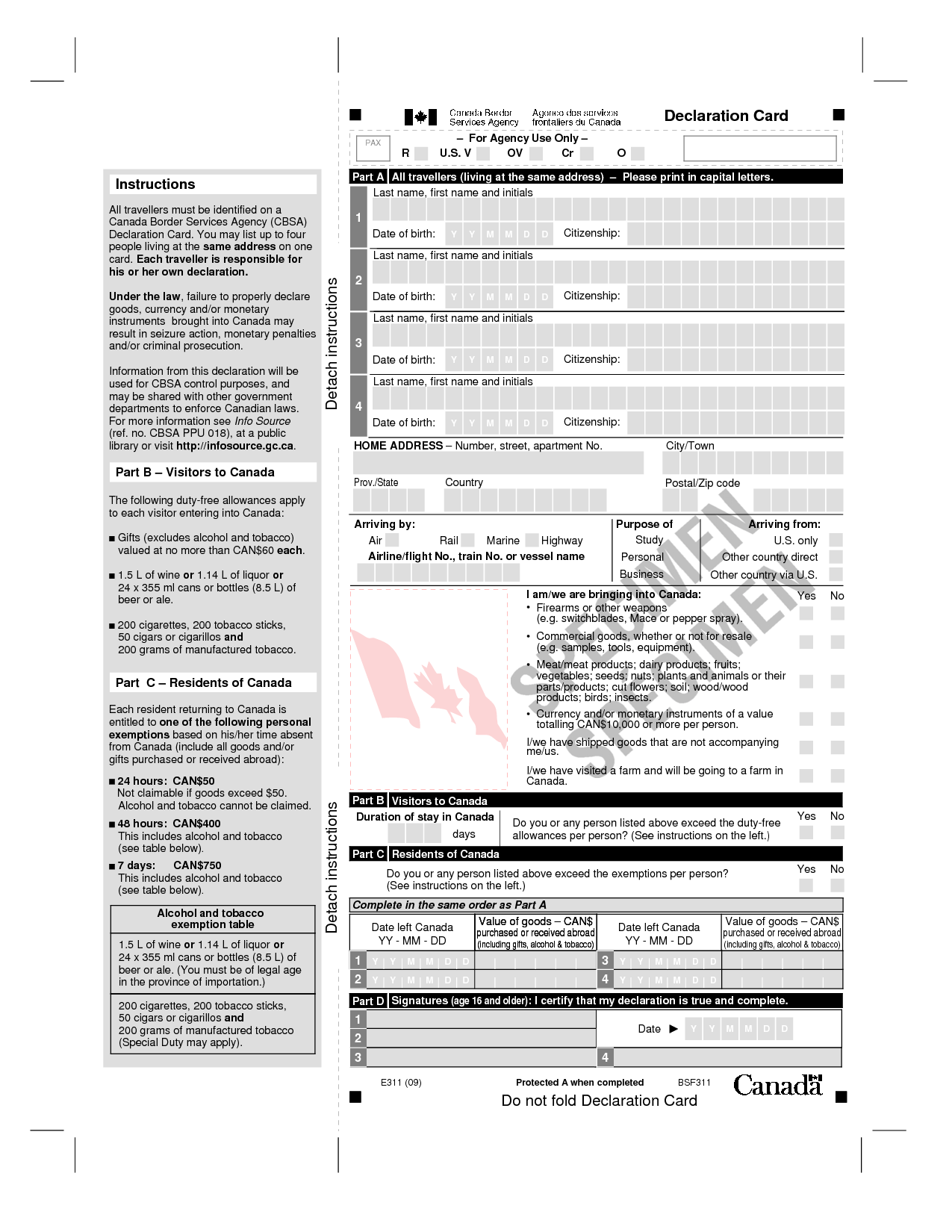 canada immigration form while landing