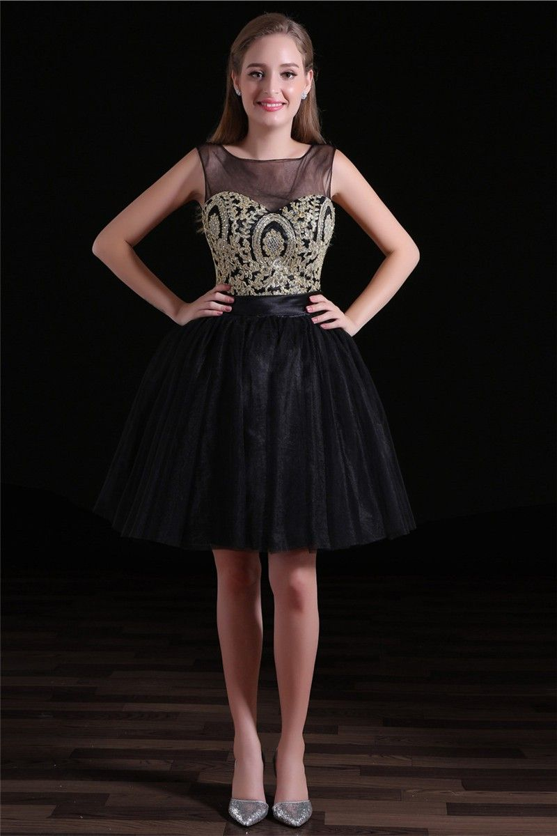 Ball open back short black tulle gold embroidery party prom dress