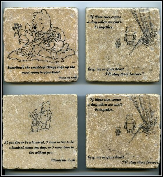 Copious Winnie The Pooh Quote Wall Art Tumbled Tile